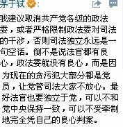 """茅于轼:建议""""取消共产党各级的政法委""""(附原文)"""